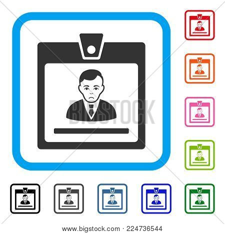 Pitiful Manager Badge vector pictograph. Person face has dolor mood. Black, gray, green, blue, red, pink color variants of manager badge symbol in a rounded square.