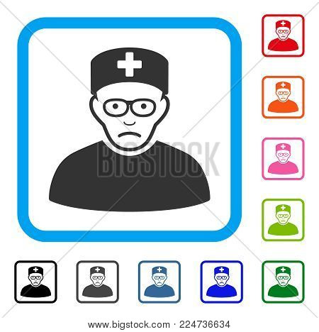 Unhappy Medical Specialist vector icon. Human face has stress expression. Black, grey, green, blue, red, pink color versions of medical specialist symbol inside a rounded square.