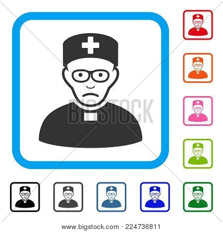 Unhappy Monastic Doctor vector pictograph. Person face has dolour sentiment. Black, grey, green, blue, red, orange color variants of monastic doctor symbol inside a rounded squared frame.