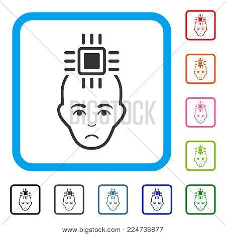 Dolor Neural Computer Interface vector icon. Person face has grief mood. Black, gray, green, blue, red, pink color variants of neural computer interface symbol inside a rounded rectangle.