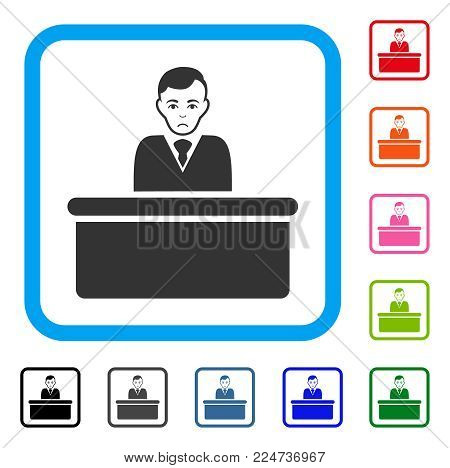 Sadly Office Clerk vector pictograph. Person face has problem expression. Black, gray, green, blue, red, orange color versions of office clerk symbol in a rounded square.