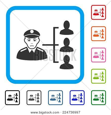 Pitiful Officer Subordinates vector icon. Human face has sadly expression. Black, gray, green, blue, red, orange color versions of officer subordinates symbol in a rounded frame.