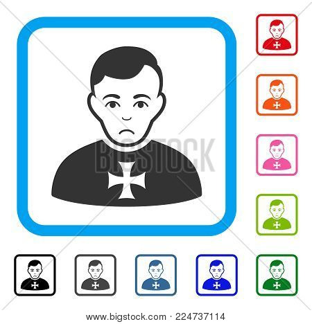 Dolor Order Chevalier vector icon. Human face has sadness sentiment. Black, gray, green, blue, red, pink color variants of order chevalier symbol in a rounded squared frame.