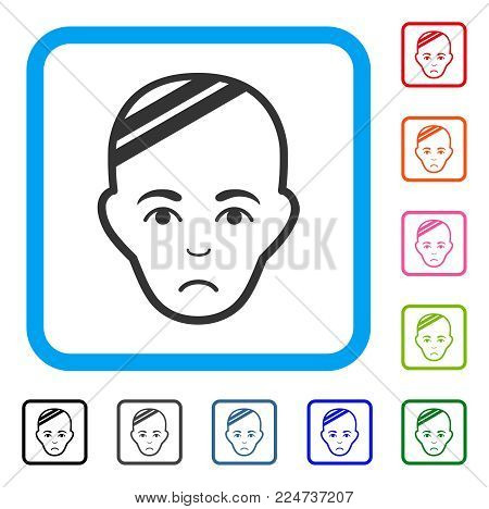 Sad Patient Head vector icon. Human face has unhappy feeling. Black, grey, green, blue, red, orange color variants of patient head symbol in a rounded square.