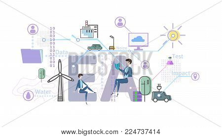 Environmental assessment, EA. Assessment of the environmental consequences. Concept vector illustration in flat style, isolated on white background.