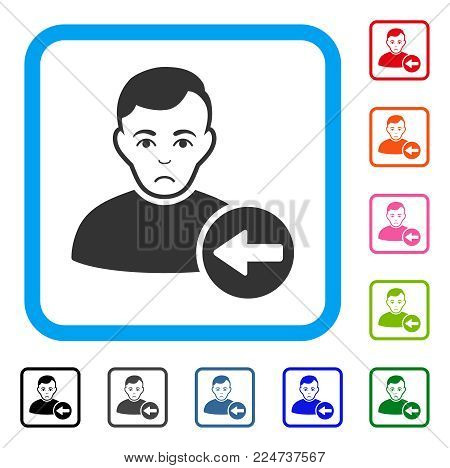 Dolor Previous User vector pictogram. Human face has unhappy emotion. Black, grey, green, blue, red, orange color variants of previous user symbol in a rounded square.