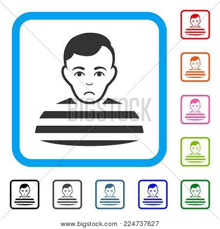 Unhappy Prisoner vector icon. Person face has sadly emotions. Black, grey, green, blue, red, pink color versions of prisoner symbol in a rounded rectangular frame.