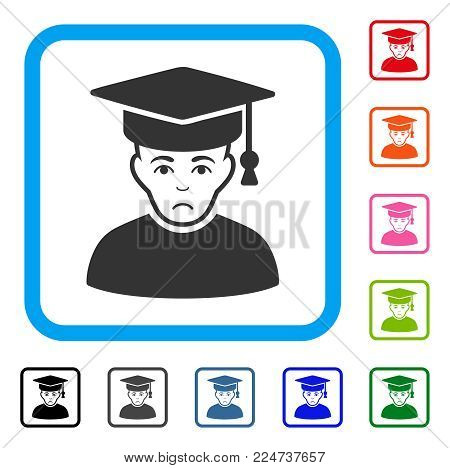 Sad Professor vector pictogram. Human face has depression sentiment. Black, gray, green, blue, red, pink color variants of professor symbol inside a rounded square.