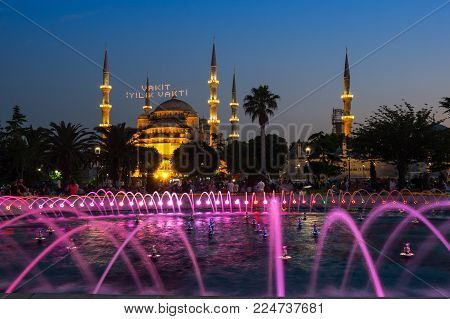 ISTANBUL, TURKEY - JUNE 25, 2015: Sultan Ahmet Mosque  is a historic mosque in Istanbul, Turkey. The mosque is popularly known as the Blue Mosque for the blue tiles adorning the walls of its interior