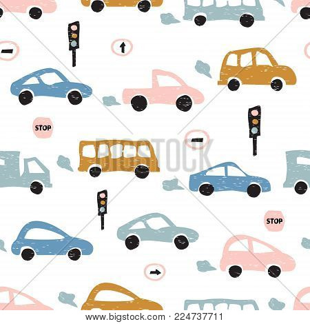 Childish seamless pattern with hand drawn cute car. Scandinavian style. Childish texture for fabric, textile