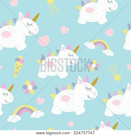 Childish seamless pattern with fairy unicorns. Scandinavian style. Childish texture for fabric, textile