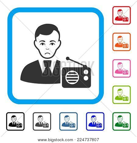 Sad Radio Dictor vector icon. Person face has sadness emotions. Black, grey, green, blue, red, orange color versions of radio dictor symbol in a rounded square.