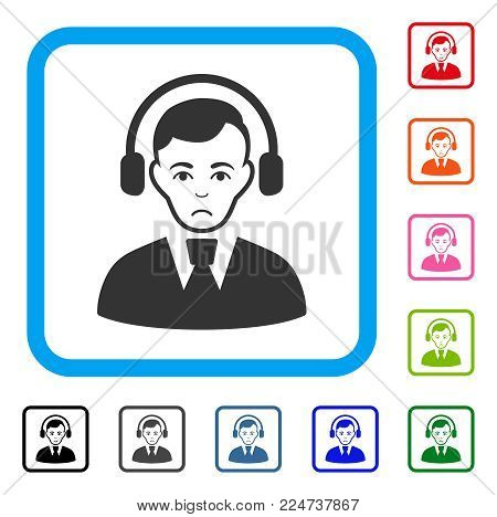 Unhappy Radio Operator vector icon. Human face has depressed expression. Black, grey, green, blue, red, pink color variants of radio operator symbol inside a rounded frame.