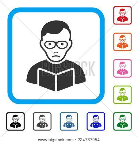 Pitiful Reader Student vector icon. Person face has depression emotion. Black, gray, green, blue, red, orange color variants of reader student symbol inside a rounded squared frame.