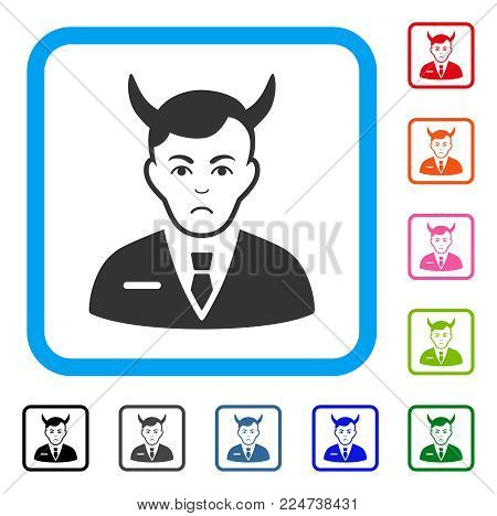 Unhappy Satan vector pictograph. Person face has sorrow emotion. Black, grey, green, blue, red, pink color versions of satan symbol inside a rounded frame.