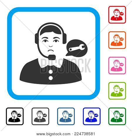 Unhappy Service Center Lady vector icon. Person face has dolor sentiment. Black, gray, green, blue, red, pink color versions of service center lady symbol inside a rounded square.