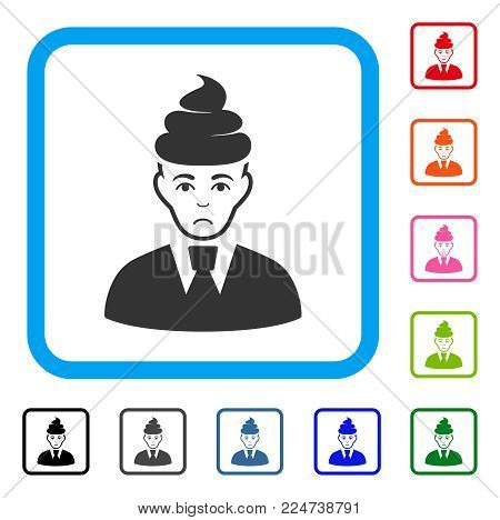 Dolor Shit Guy vector icon. Person face has depressed emotions. Black, grey, green, blue, red, orange color variants of shit guy symbol in a rounded frame.