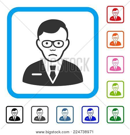 Sad Specialist vector pictogram. Person face has sorrow emotions. Black, gray, green, blue, red, pink color variants of specialist symbol inside a rounded frame.