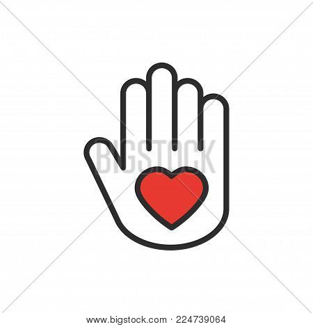 Hand with heart line icon. Love relationship peace charity volunteer help care protection support theme. Peace sign and symbol