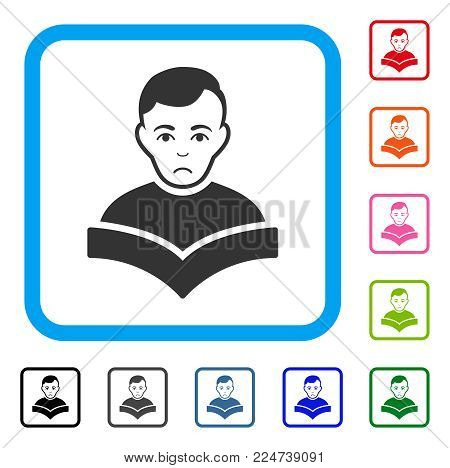 Pitiful Student vector pictogram. Person face has stress feeling. Black, grey, green, blue, red, orange color variants of student symbol in a rounded frame.