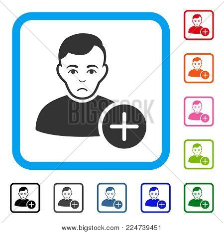 Pitiful User Add vector pictograph. Human face has unhappy mood. Black, gray, green, blue, red, orange color variants of user add symbol inside a rounded squared frame.