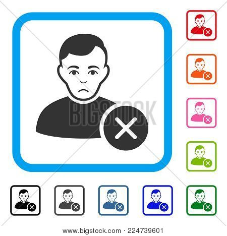 Unhappy User Delete vector icon. Human face has mourning emotions. Black, grey, green, blue, red, orange color versions of user delete symbol in a rounded rectangle.