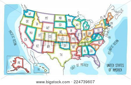 Vector map of the United States of America. Colorful sketch illustration with all 50 states