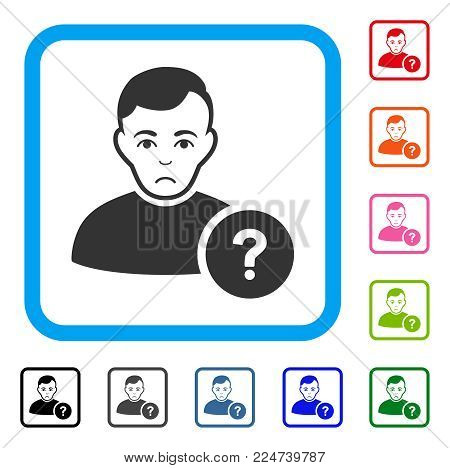 Sadly User Question vector icon. Human face has sadly expression. Black, grey, green, blue, red, pink color variants of user question symbol inside a rounded rectangle.