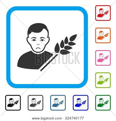 Unhappy Wheat Farmer vector icon. Human face has depressed emotions. Black, grey, green, blue, red, pink color versions of wheat farmer symbol inside a rounded rectangular frame.