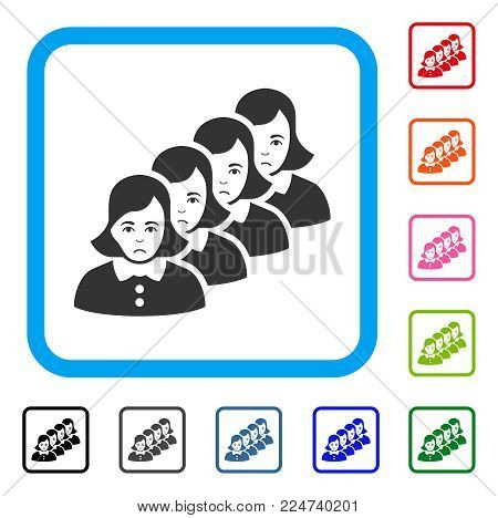 Unhappy Woman Queue vector pictograph. Person face has dolor feeling. Black, grey, green, blue, red, orange color variants of woman queue symbol in a rounded squared frame.