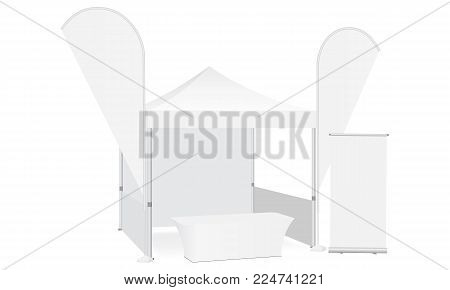 Trade show booth display stand - tent canopy, feather flags, roll-up stand and demonstration table. Blank exhibition equipment mockup. Vector illustration
