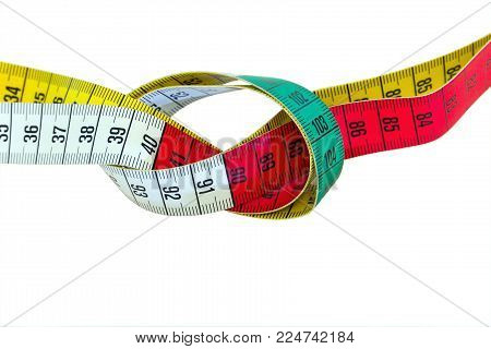 Measuring Red Green Yellow Tape Isolated On White Background
