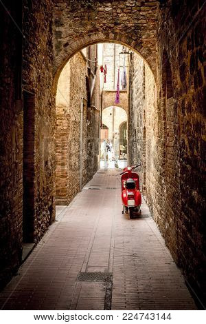 Red Scooter in Alley in San Geminiano