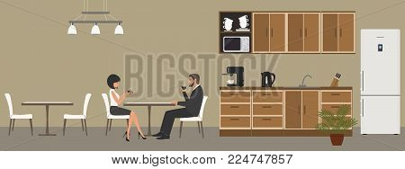 Office kitchen. Dining room in the office. Employees drink coffee at the table. Coffee break. There are kitchen cabinets, a fridge, a microwave, a kettle and a coffee machine in the image. Vector