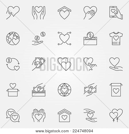 Donation and charity icons set - vector donate concept symbols or design elements in thin line style