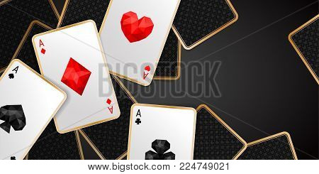 Casino banner with four aces and a several back side playing card on black background. Winning poker hand