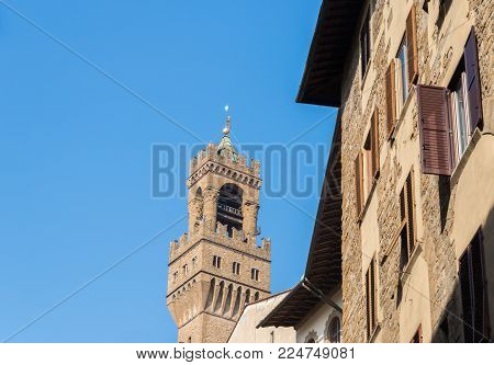 The tower of Palazzo Vecchio is one of the symbols of Florence and it is called the tower of Arnolfo in honor of Arnolfo di Cambio, considered the architect and designer of the ancient palace poster