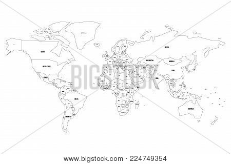 Simplified vector map of World. Thin black outline on white background.