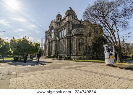 VARNA, BULGARIA - April 30 2015 - tourist visiting the cathedral assumption of the mother god in Varna Bulgaria