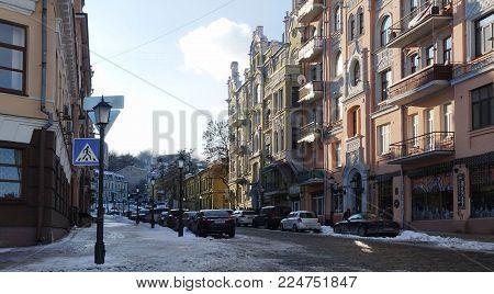 01 20 2018 Kiev, Ukraine. Kiev well-known ancient street Andreevsky Descent, Winter sunny day