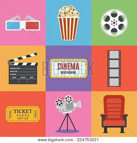 Movie Icons. Flat style. Popcorn, 3D glasses, red seat, filmstrip, cinema clapper, ticket. Film industry. Cinematography concept. Vector illustration.