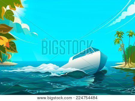Vector illustration of white motorboat floating in the ocean.