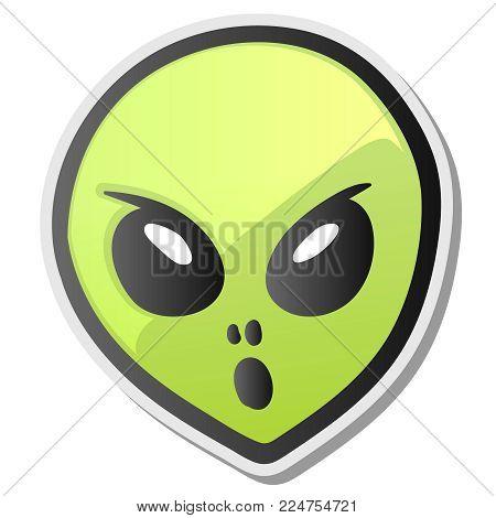 Green alien face emoji. Extraterrestrial humanoid head icon, sticker, vector illustration.