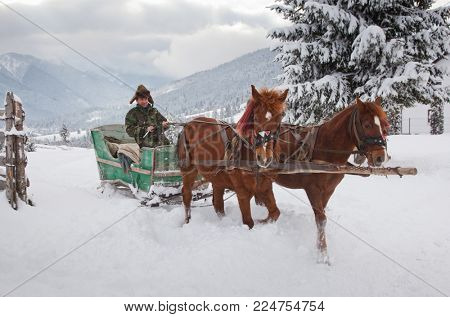 TIHUTA, ROMANIA - JANUARY 20, 2018: Unidentified man with his horse drawn sledge on January 20, 2018 in Tihuta, Romania.