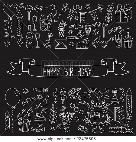 Birthday party outline doodles collection vector set