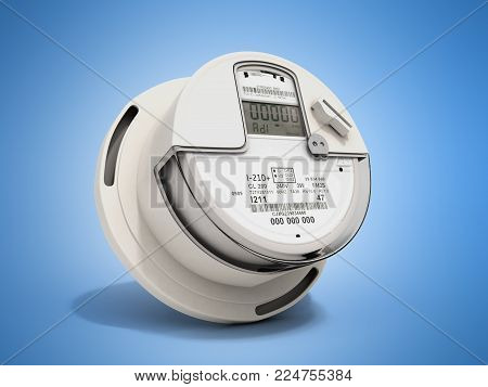 Modern digital electric meter 3d render on blue