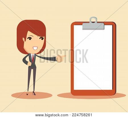 Full length portrait of smiling business woman pointing on blank clipboard. Stock flat vector illustration.