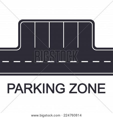 Parking Zone Concept. Road With Parking Places, Top View. Vector Illustration.
