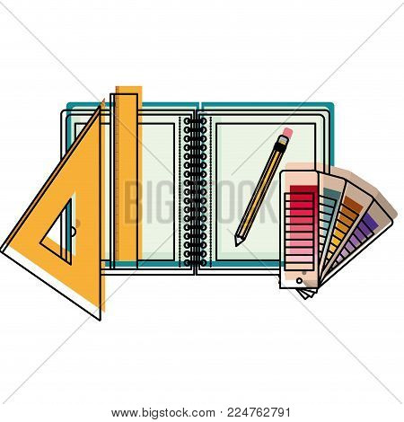 drawing notebook ruler pencil school office draw tool vector illustration