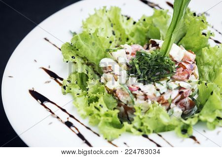 gourmet fusion cuisine seafood and apple celery salad with zesty wasabi mayo